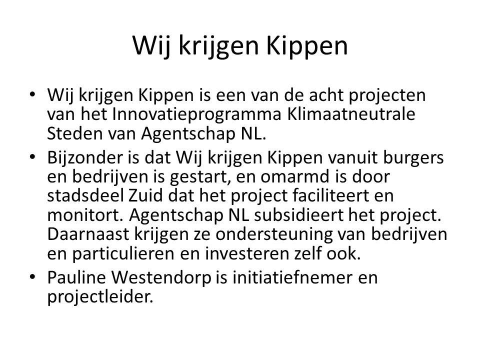 Wij krijgen Kippen Wij krijgen Kippen is een van de acht projecten van het Innovatieprogramma Klimaatneutrale Steden van Agentschap NL. Bijzonder is d