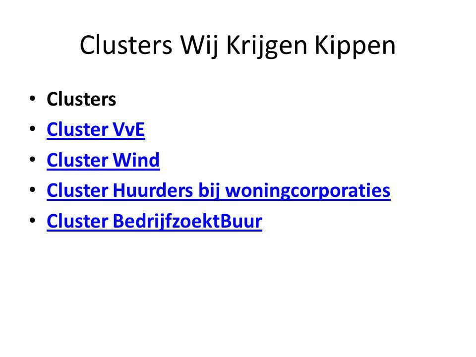 Clusters Wij Krijgen Kippen Clusters Cluster VvE Cluster Wind Cluster Huurders bij woningcorporaties Cluster BedrijfzoektBuur