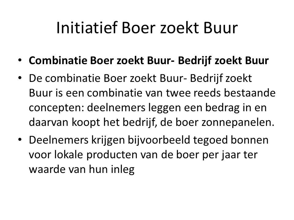 Initiatief Boer zoekt Buur Combinatie Boer zoekt Buur- Bedrijf zoekt Buur De combinatie Boer zoekt Buur- Bedrijf zoekt Buur is een combinatie van twee reeds bestaande concepten: deelnemers leggen een bedrag in en daarvan koopt het bedrijf, de boer zonnepanelen.