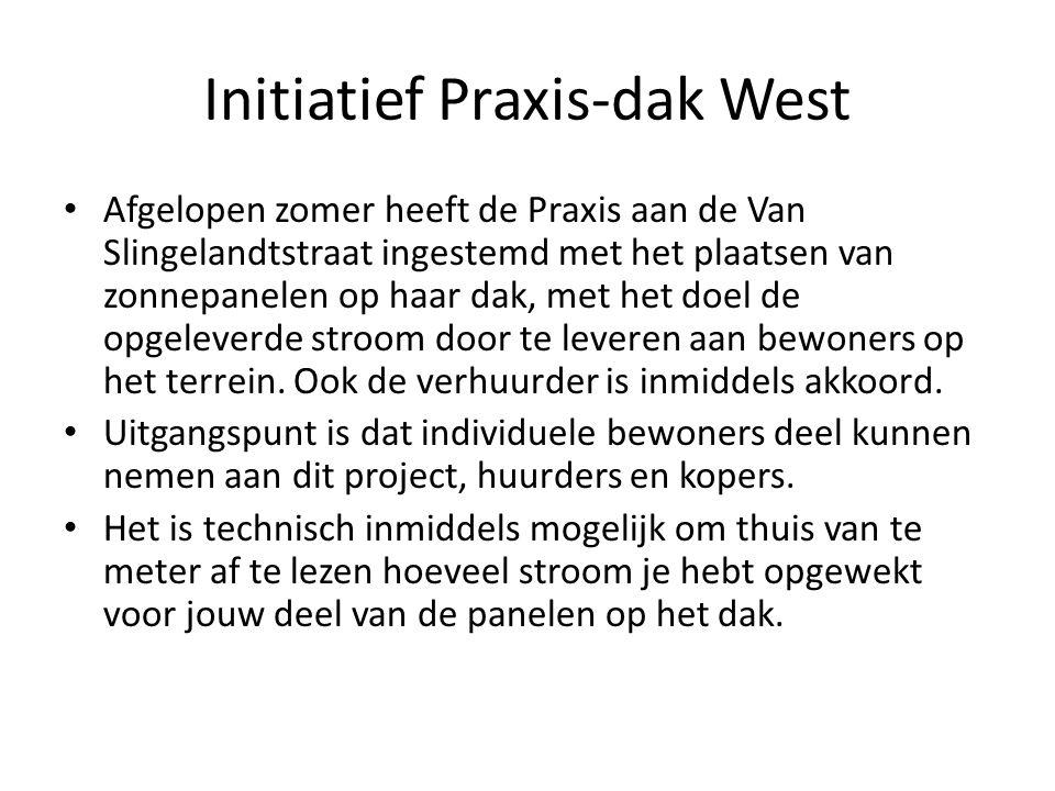 Initiatief Praxis-dak West Afgelopen zomer heeft de Praxis aan de Van Slingelandtstraat ingestemd met het plaatsen van zonnepanelen op haar dak, met het doel de opgeleverde stroom door te leveren aan bewoners op het terrein.