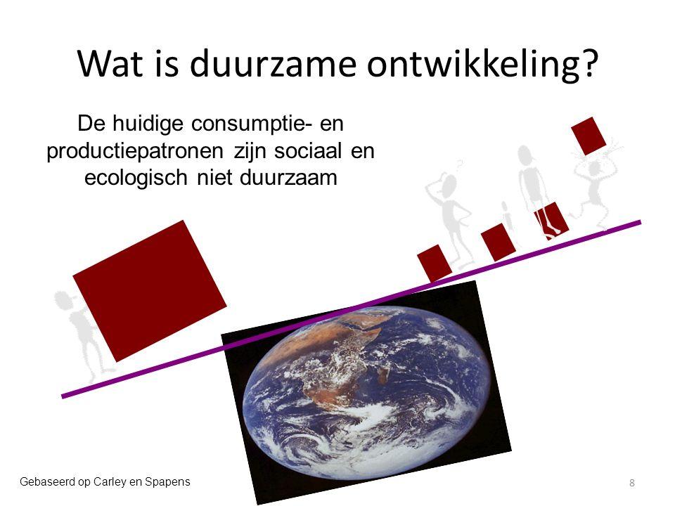 Criteria voor integratie Respect voor ecologische grenzen koppelen aan eis tot sociale rechtvaardigheid - EAA: eerlijk aardeaandeel - environmental (ecological) justice - herverdeling van wat er is Economische dimensie beoordelen vanuit creatie van welvaart (prosperity) - economie 'anders meten' - inbedding Oriëntatie op duurzame productie-en consumptiepatronen (duurzame levenswijzen) - bestrijding van 'rijkdom' als beslag op hulpbronnen