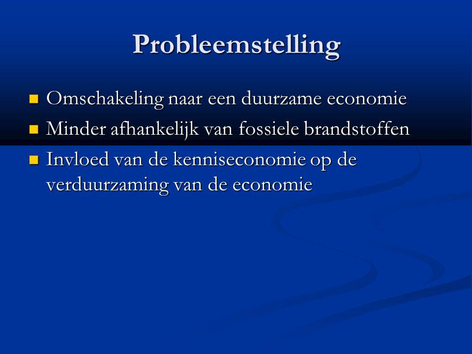 Probleemstelling Omschakeling naar een duurzame economie Omschakeling naar een duurzame economie Minder afhankelijk van fossiele brandstoffen Minder afhankelijk van fossiele brandstoffen Invloed van de kenniseconomie op de verduurzaming van de economie Invloed van de kenniseconomie op de verduurzaming van de economie