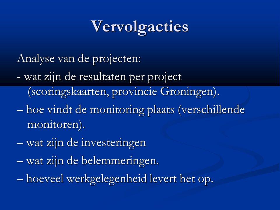 Vervolgacties Analyse van de projecten: - wat zijn de resultaten per project (scoringskaarten, provincie Groningen).