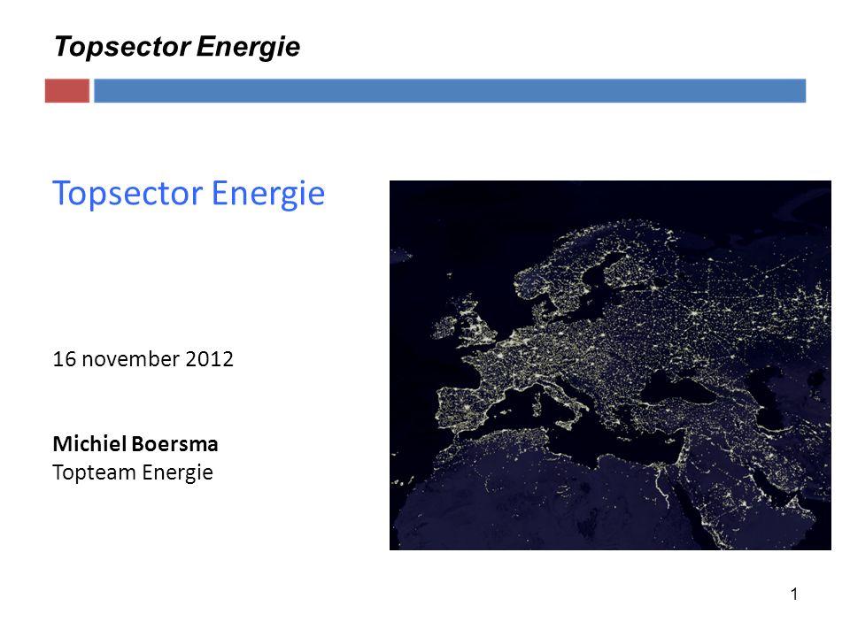 1 Topsector Energie 16 november 2012 Michiel Boersma Topteam Energie Topsector Energie