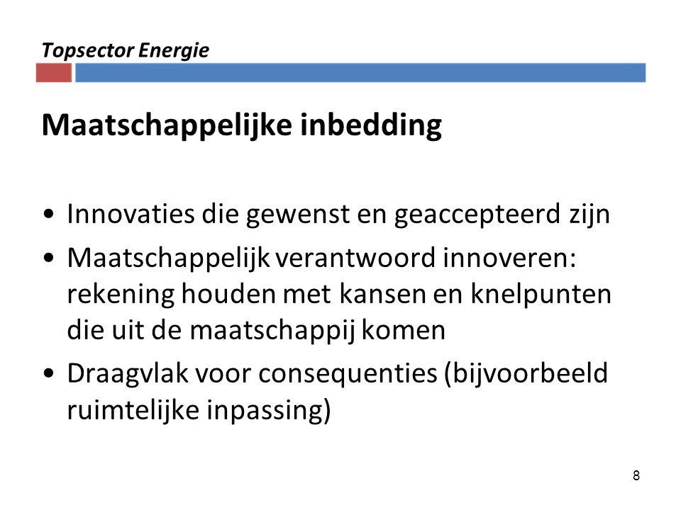 8 Topsector Energie Maatschappelijke inbedding Innovaties die gewenst en geaccepteerd zijn Maatschappelijk verantwoord innoveren: rekening houden met