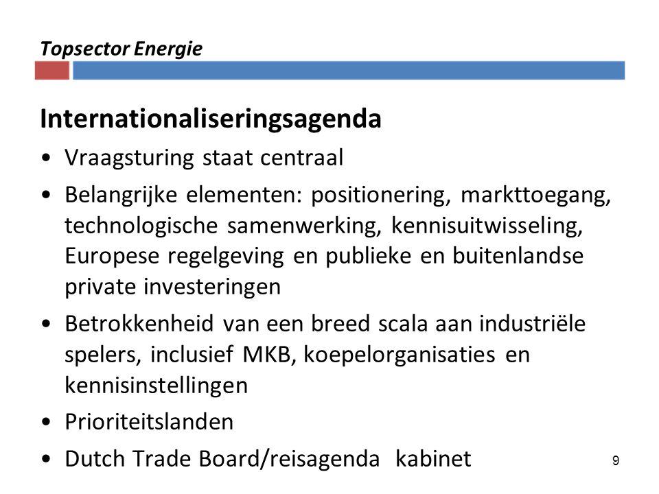 9 Topsector Energie Internationaliseringsagenda Vraagsturing staat centraal Belangrijke elementen: positionering, markttoegang, technologische samenwe