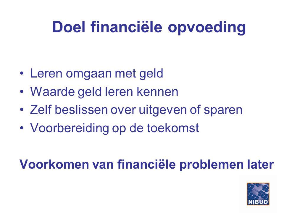 Doel financiële opvoeding Leren omgaan met geld Waarde geld leren kennen Zelf beslissen over uitgeven of sparen Voorbereiding op de toekomst Voorkomen van financiële problemen later