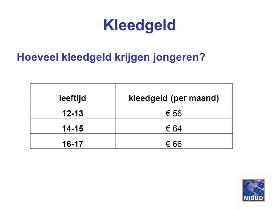 Kleedgeld Hoeveel kleedgeld krijgen jongeren.