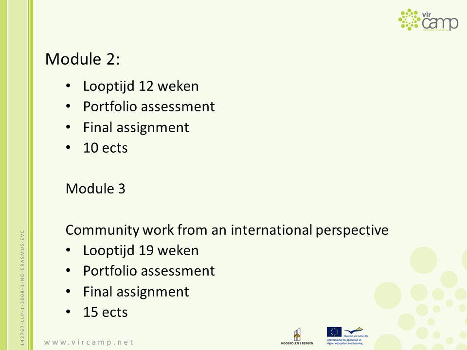 Module 2: Looptijd 12 weken Portfolio assessment Final assignment 10 ects Module 3 Community work from an international perspective Looptijd 19 weken