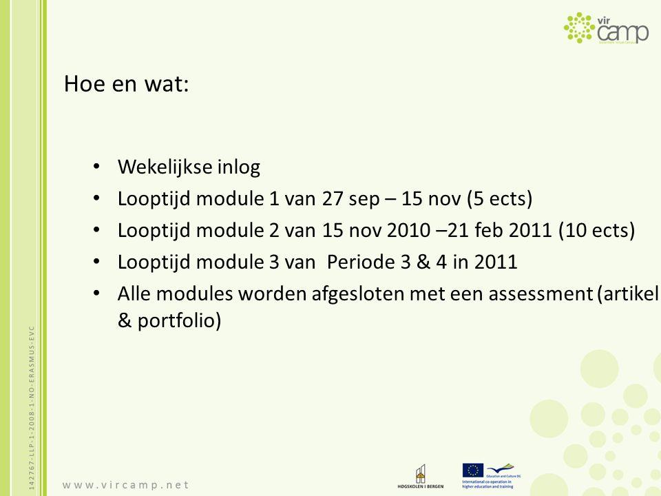 Hoe en wat: Wekelijkse inlog Looptijd module 1 van 27 sep – 15 nov (5 ects) Looptijd module 2 van 15 nov 2010 –21 feb 2011 (10 ects) Looptijd module 3 van Periode 3 & 4 in 2011 Alle modules worden afgesloten met een assessment (artikel & portfolio)