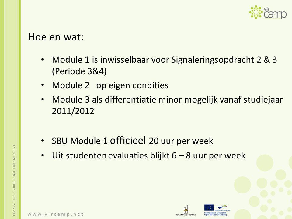 Hoe en wat: Module 1 is inwisselbaar voor Signaleringsopdracht 2 & 3 (Periode 3&4) Module 2 op eigen condities Module 3 als differentiatie minor mogelijk vanaf studiejaar 2011/2012 SBU Module 1 officieel 20 uur per week Uit studenten evaluaties blijkt 6 – 8 uur per week