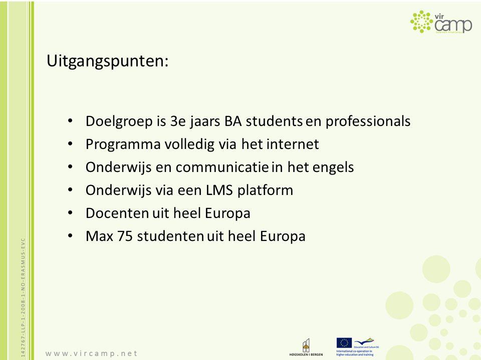 Uitgangspunten: Doelgroep is 3e jaars BA students en professionals Programma volledig via het internet Onderwijs en communicatie in het engels Onderwi