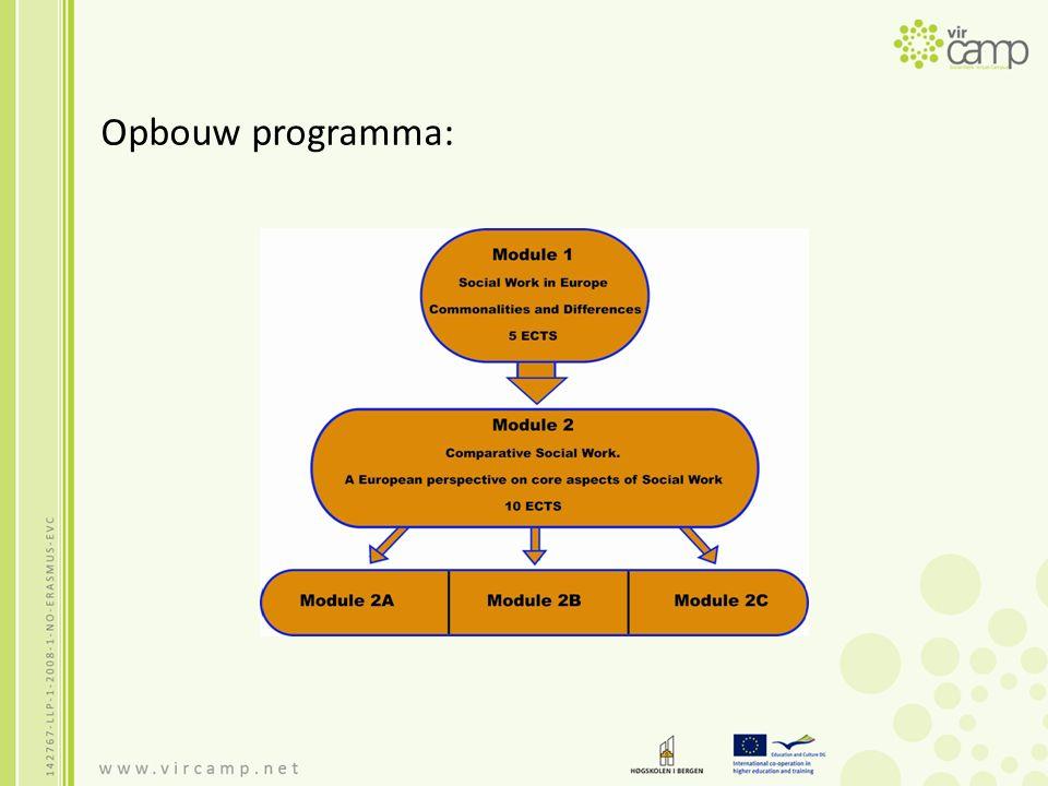Uitgangspunten Module 1: Een algemene invoering op het perspectief van Social Work in Europa Vergelijking Social Work thema's van eigen land met 2 andere landen binnen Europa Internationale uitwisseling 5 ects Looptijd 7 weken