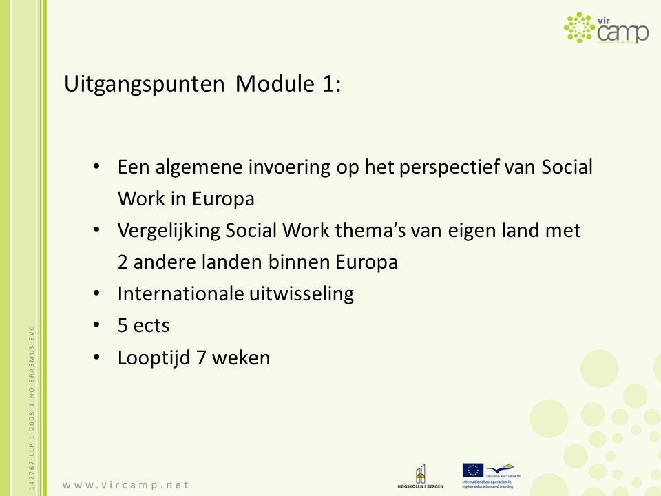 Uitgangspunten Module 1: Een algemene invoering op het perspectief van Social Work in Europa Vergelijking Social Work thema's van eigen land met 2 and