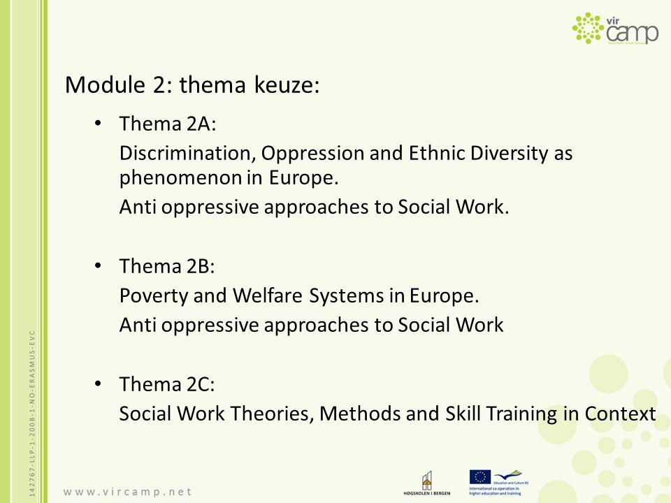 Module 2: thema keuze: Thema 2A: Discrimination, Oppression and Ethnic Diversity as phenomenon in Europe. Anti oppressive approaches to Social Work. T
