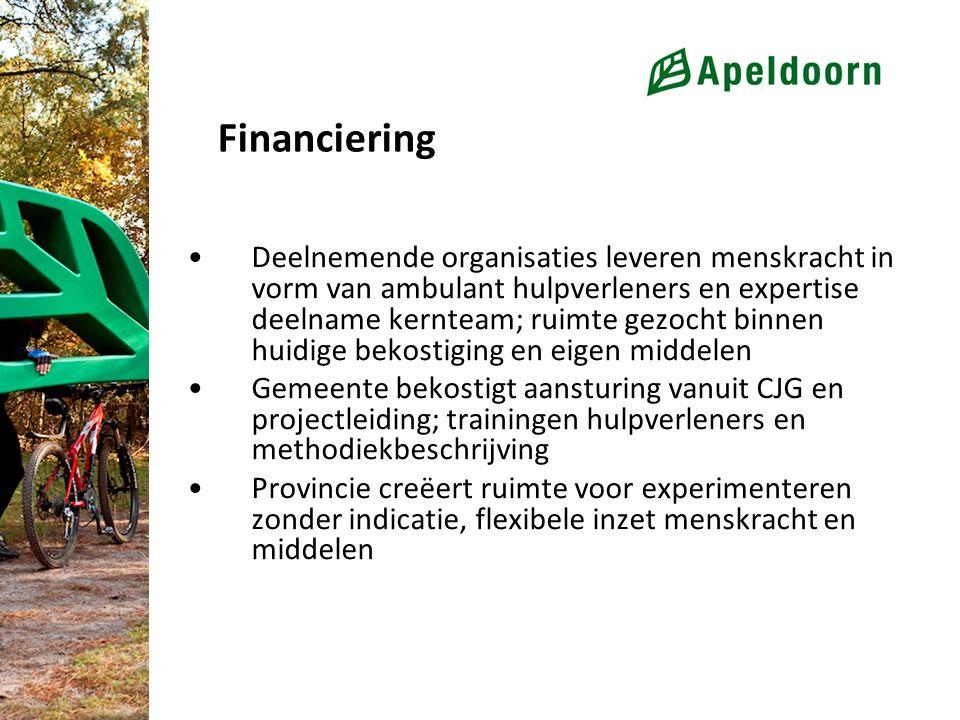 Financiering Deelnemende organisaties leveren menskracht in vorm van ambulant hulpverleners en expertise deelname kernteam; ruimte gezocht binnen huid