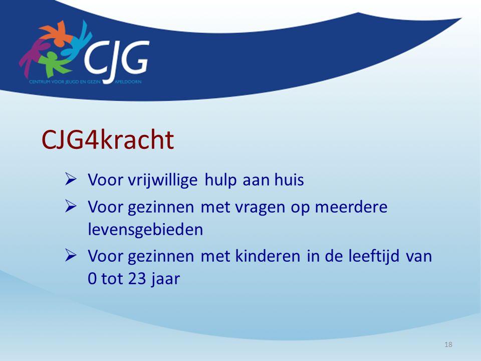 CJG4kracht  Voor vrijwillige hulp aan huis  Voor gezinnen met vragen op meerdere levensgebieden  Voor gezinnen met kinderen in de leeftijd van 0 tot 23 jaar 18