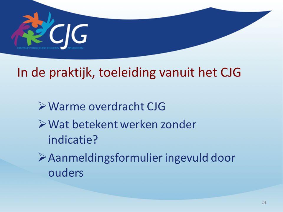 In de praktijk, toeleiding vanuit het CJG  Warme overdracht CJG  Wat betekent werken zonder indicatie?  Aanmeldingsformulier ingevuld door ouders 2