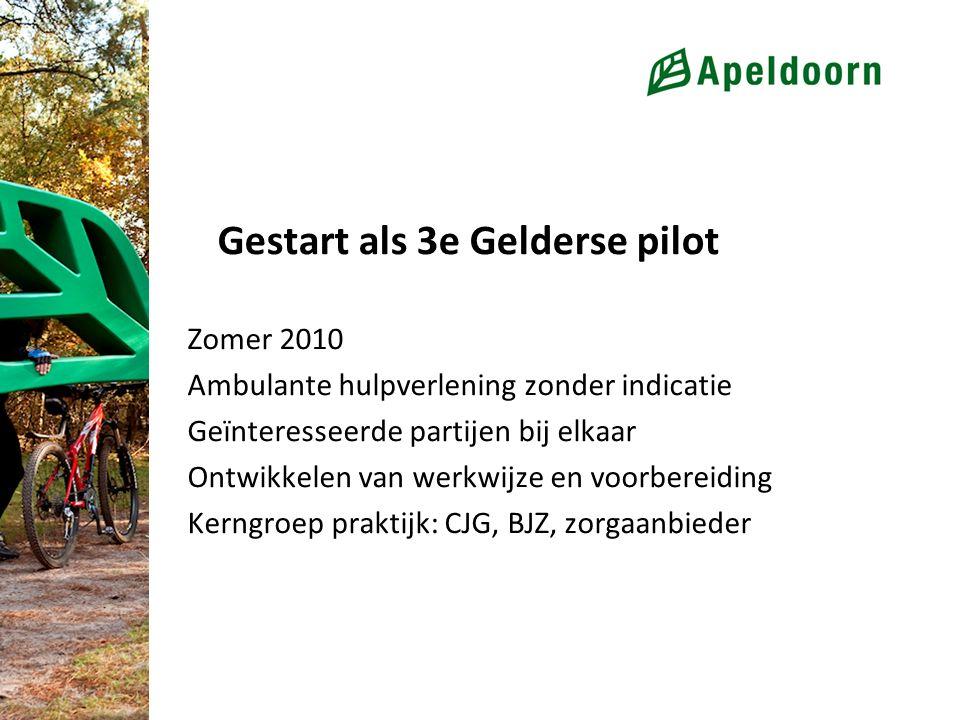 Gestart als 3e Gelderse pilot Zomer 2010 Ambulante hulpverlening zonder indicatie Geïnteresseerde partijen bij elkaar Ontwikkelen van werkwijze en voorbereiding Kerngroep praktijk: CJG, BJZ, zorgaanbieder