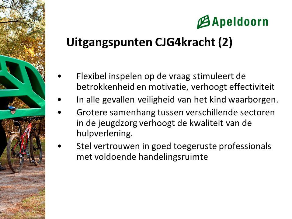 Uitgangspunten CJG4kracht (2) Flexibel inspelen op de vraag stimuleert de betrokkenheid en motivatie, verhoogt effectiviteit In alle gevallen veilighe