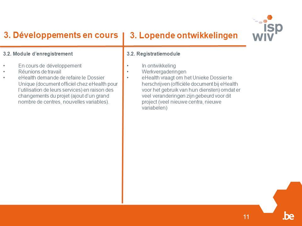 11 3. Développements en cours 3. Lopende ontwikkelingen 3.2.