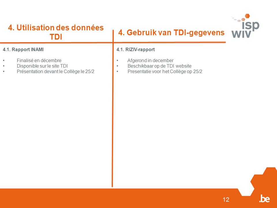12 4. Utilisation des données TDI 4. Gebruik van TDI-gegevens 4.1.