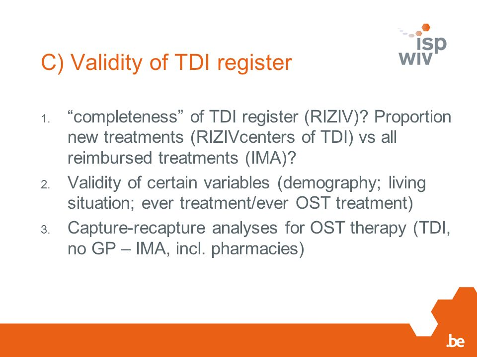 C) Validity of TDI register 1. completeness of TDI register (RIZIV).