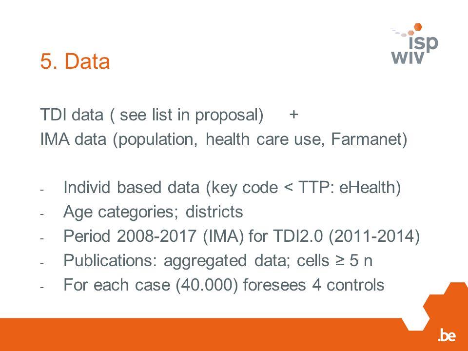 5. Data TDI data ( see list in proposal) + IMA data (population, health care use, Farmanet) - Individ based data (key code < TTP: eHealth) - Age categ