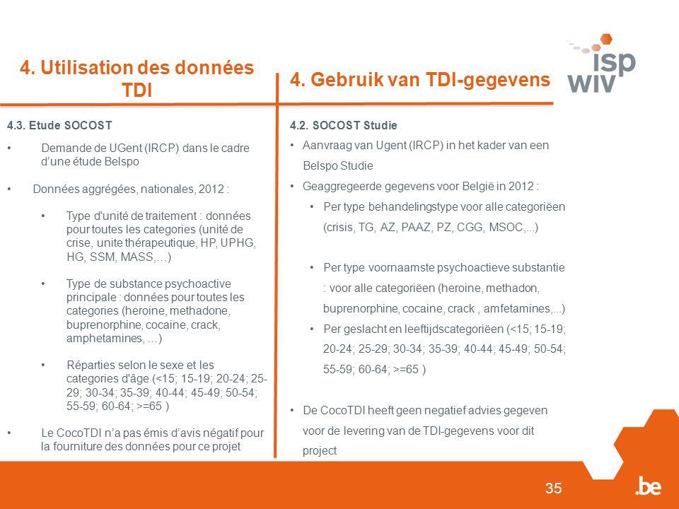 4.2. SOCOST Studie Aanvraag van Ugent (IRCP) in het kader van een Belspo Studie Geaggregeerde gegevens voor België in 2012 : Per type behandelingstype