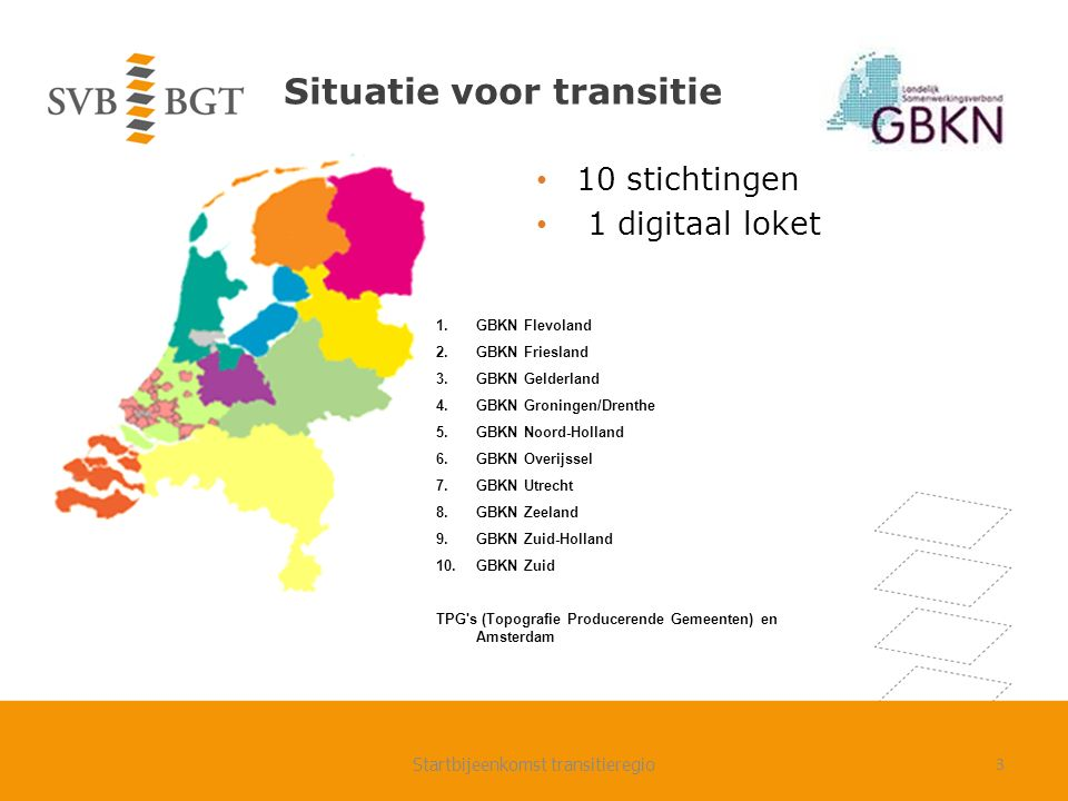Samenwerking BGT in transitieregio Gelderland- Zuid Regio Nijmegen: nauwe samenwerking gemeenten, gezamenlijk projectplan Regio Rivierenland: grote behoefte aan samenwerking, maar het lukt vooralsnog niet om deze te realiseren/organsieren