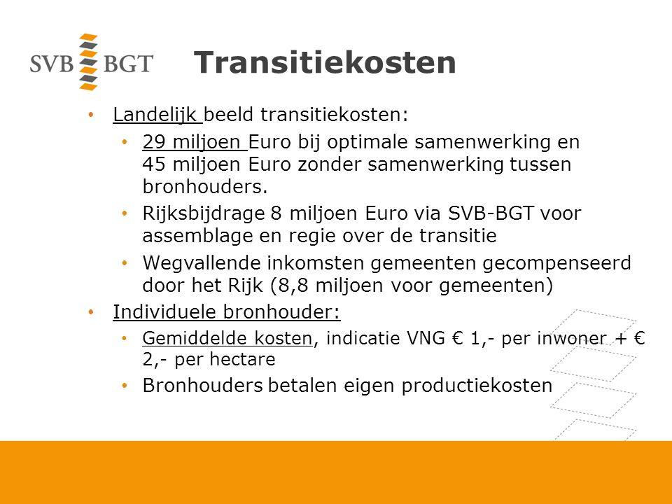 Transitiekosten Landelijk beeld transitiekosten: 29 miljoen Euro bij optimale samenwerking en 45 miljoen Euro zonder samenwerking tussen bronhouders.