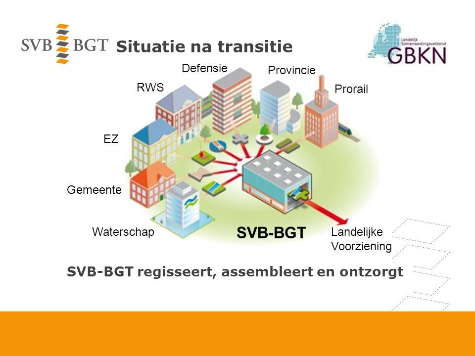 Governance SVB-BGT: Stichting opgericht door VNG, IPO, UVW, Prorail en 3 ministeries Bestuur: 7 bronhouderslagen met elk een stem.