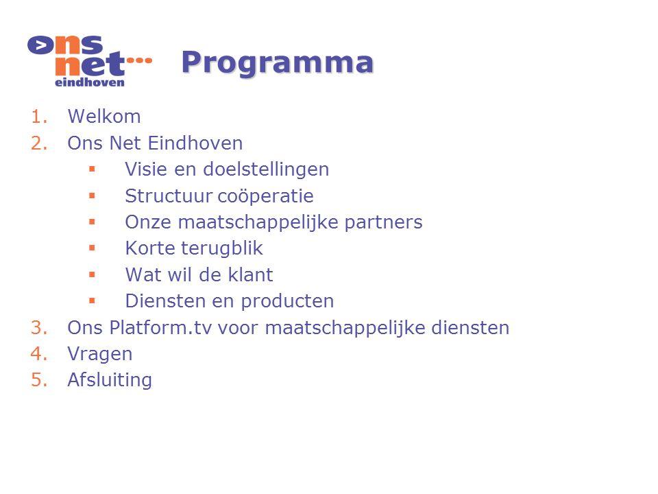 Programma 1.Welkom 2.Ons Net Eindhoven  Visie en doelstellingen  Structuur coöperatie  Onze maatschappelijke partners  Korte terugblik  Wat wil de klant  Diensten en producten 3.Ons Platform.tv voor maatschappelijke diensten 4.Vragen 5.Afsluiting