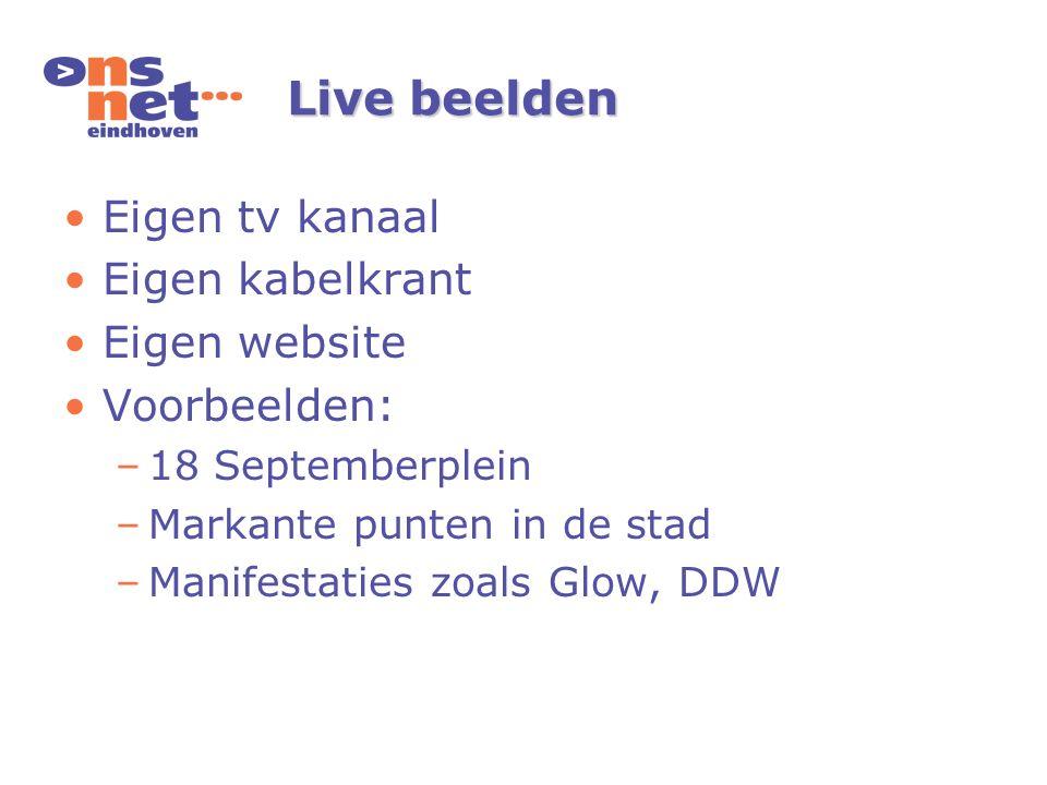 Live beelden Eigen tv kanaal Eigen kabelkrant Eigen website Voorbeelden: –18 Septemberplein –Markante punten in de stad –Manifestaties zoals Glow, DDW