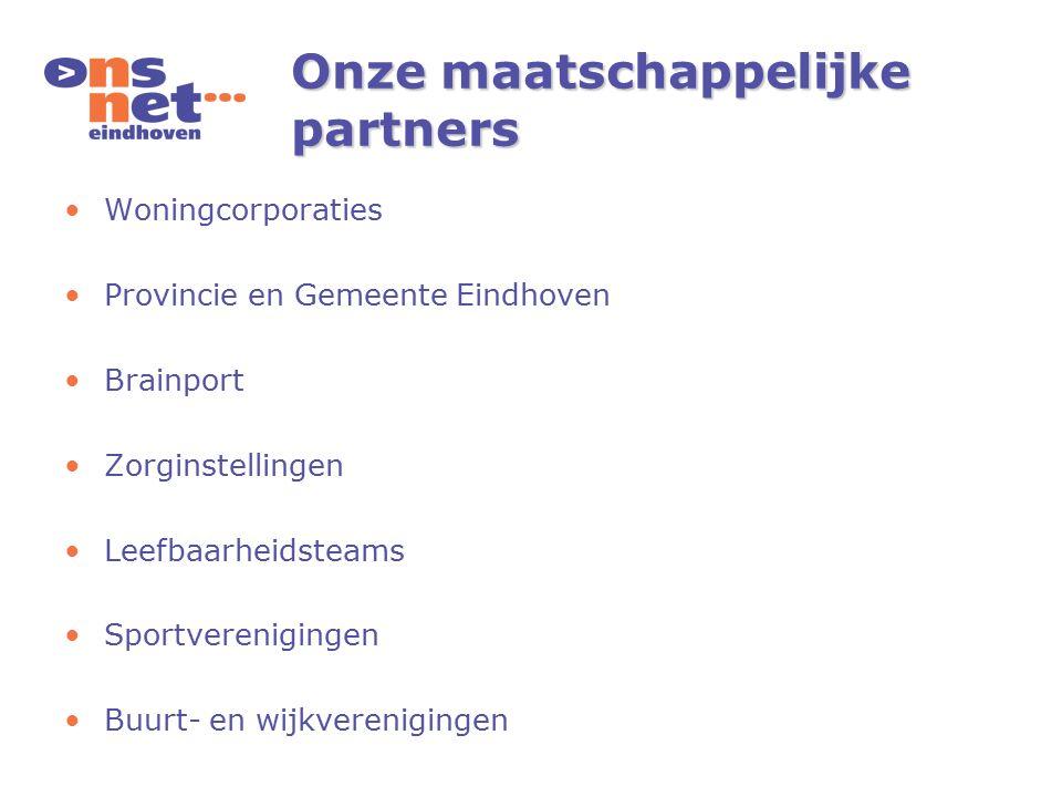 Onze maatschappelijke partners Woningcorporaties Provincie en Gemeente Eindhoven Brainport Zorginstellingen Leefbaarheidsteams Sportverenigingen Buurt- en wijkverenigingen