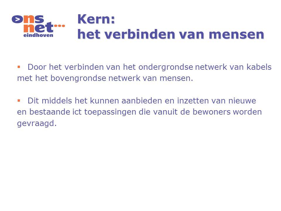 Kern: het verbinden van mensen  Door het verbinden van het ondergrondse netwerk van kabels met het bovengrondse netwerk van mensen.  Dit middels het