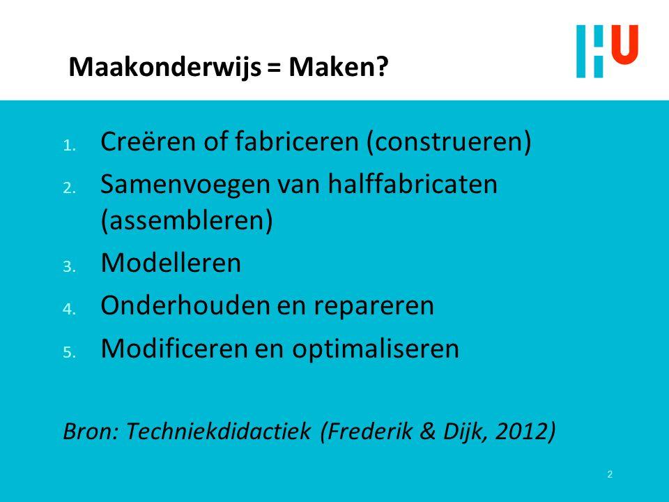 Maakonderwijs = Maken. 1. Creëren of fabriceren (construeren) 2.