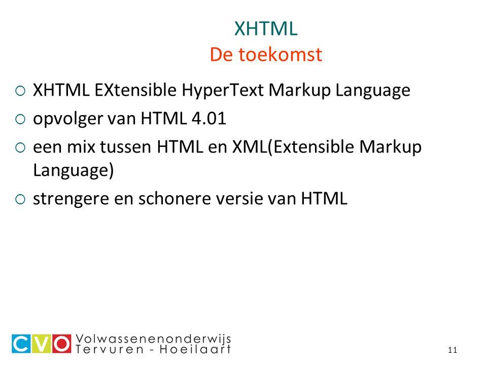 11 XHTML De toekomst  XHTML EXtensible HyperText Markup Language  opvolger van HTML 4.01  een mix tussen HTML en XML(Extensible Markup Language)  strengere en schonere versie van HTML
