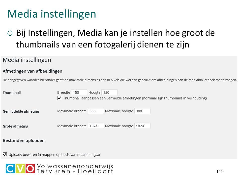 Media instellingen  Bij Instellingen, Media kan je instellen hoe groot de thumbnails van een fotogalerij dienen te zijn 112