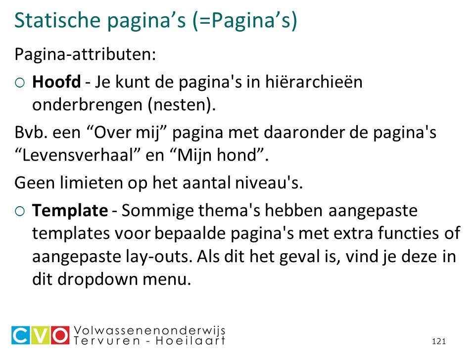 Statische pagina's (=Pagina's) Pagina-attributen:  Hoofd - Je kunt de pagina s in hiërarchieën onderbrengen (nesten).