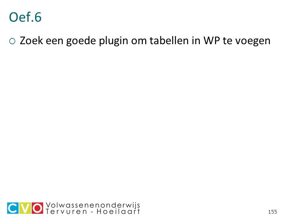 Oef.6  Zoek een goede plugin om tabellen in WP te voegen 155