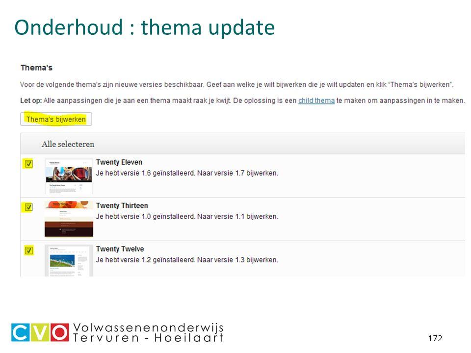 Onderhoud : thema update 172