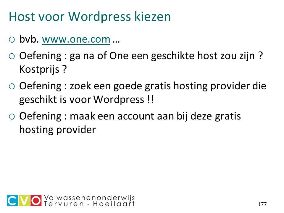 Host voor Wordpress kiezen  bvb.