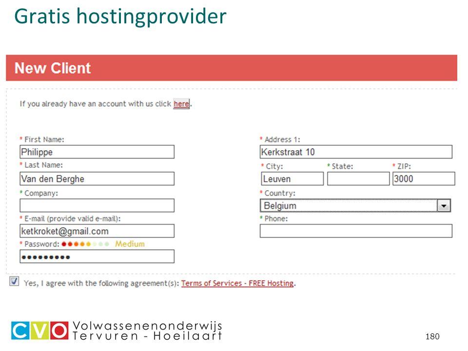 Gratis hostingprovider 180