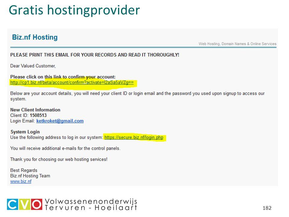 Gratis hostingprovider 182