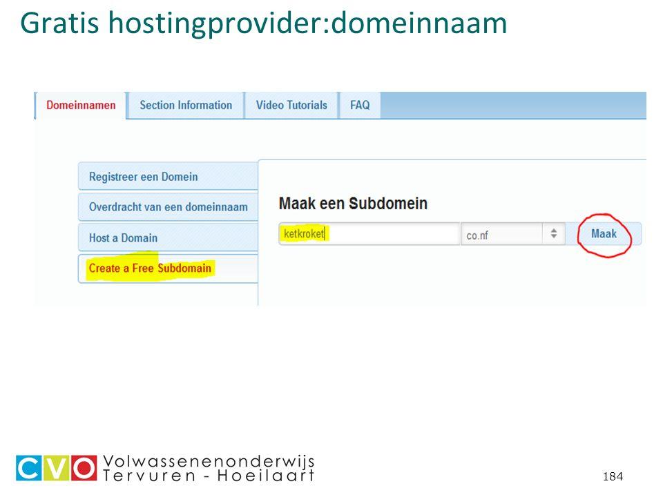 Gratis hostingprovider:domeinnaam 184