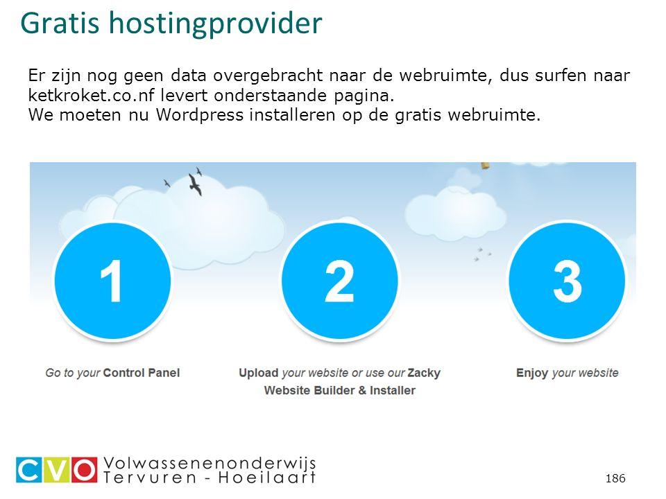 Gratis hostingprovider 186 Er zijn nog geen data overgebracht naar de webruimte, dus surfen naar ketkroket.co.nf levert onderstaande pagina.