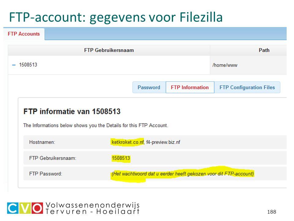FTP-account: gegevens voor Filezilla 188