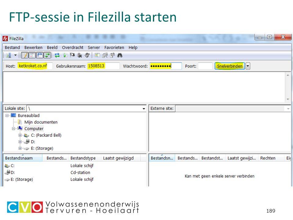 FTP-sessie in Filezilla starten 189