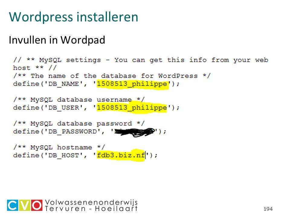 Wordpress installeren Invullen in Wordpad 194